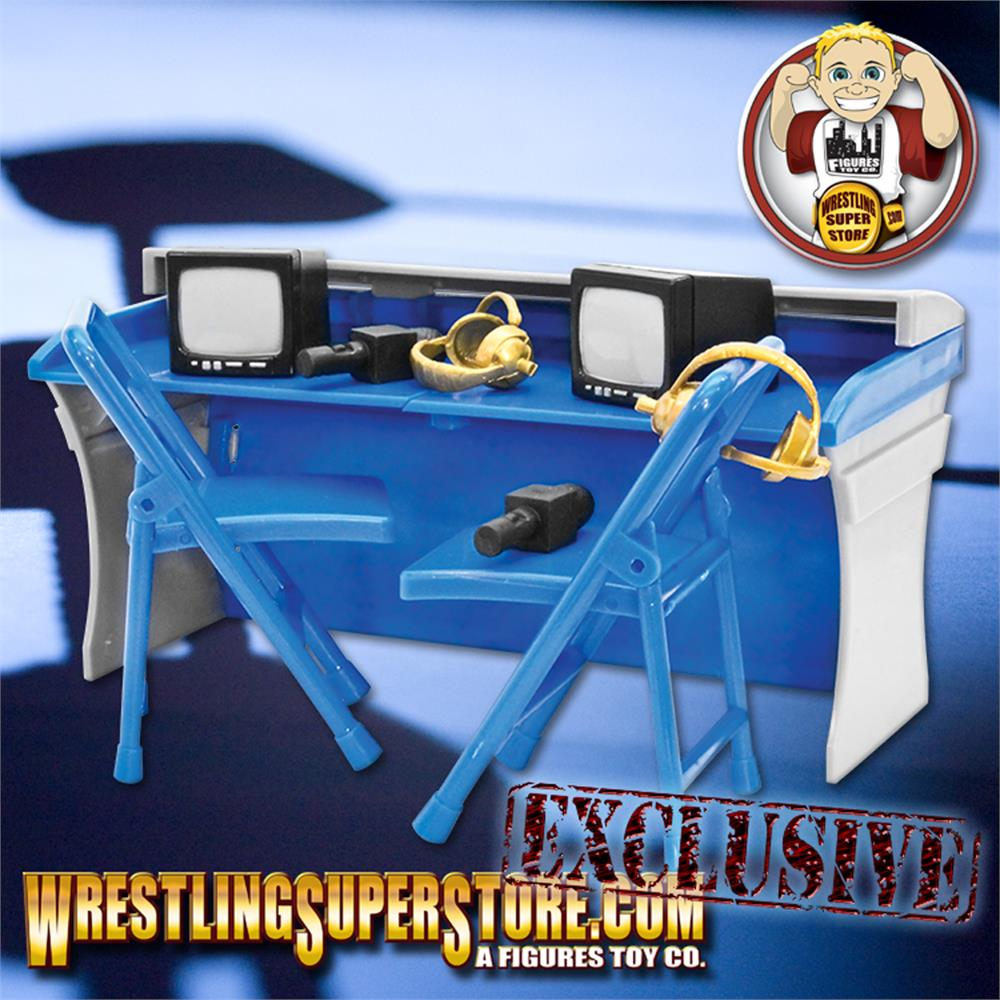 Red Commentator Table Playset For WWE Wrestling Action Figures