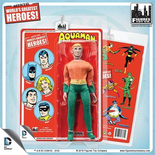 D.C Comics 8 inch Action Figures retro  card  Aquaman webbed hands  set of 2