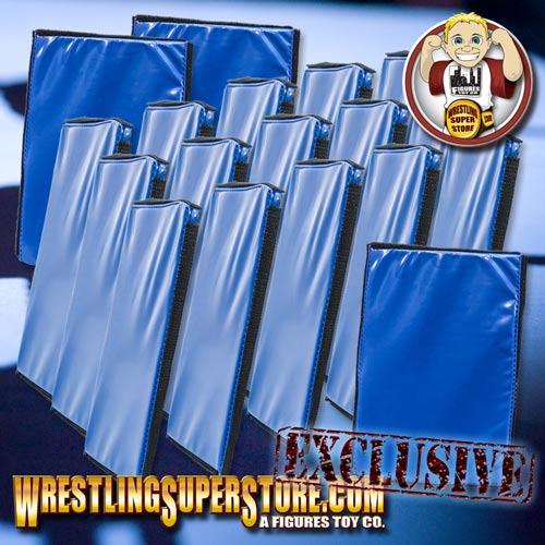 Set Of 18 Blue Wrestling Ring Floor Mats For Wrestling
