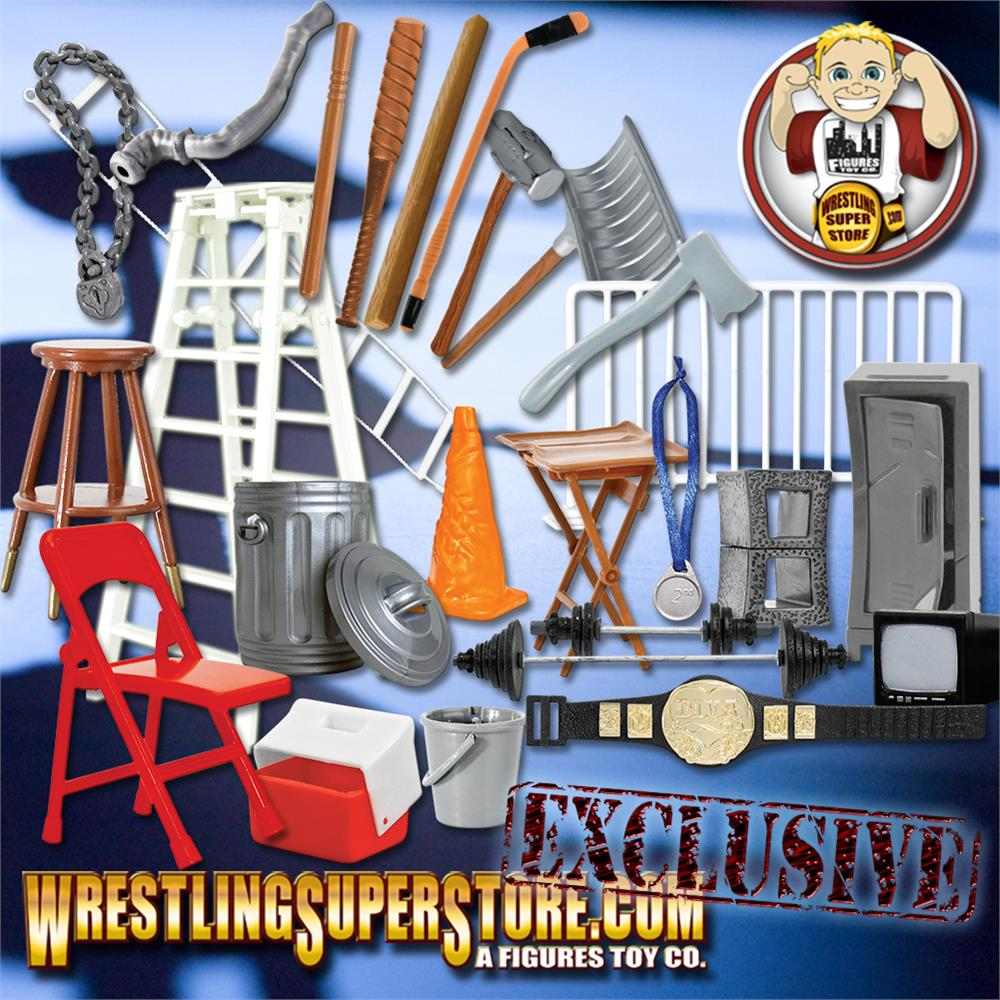 Wrestling Accessories Figure Hardcore Gear Special 26 Piece Deal For WWE Action