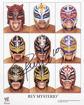 WWE 2010 Rey Mysterio Masks Collage Autographed 8 By 10 Photo