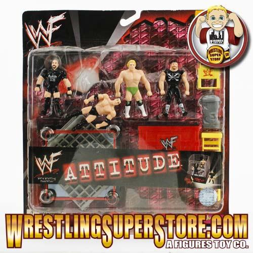 Wwe Attitude Mini Wrestlers With Ring