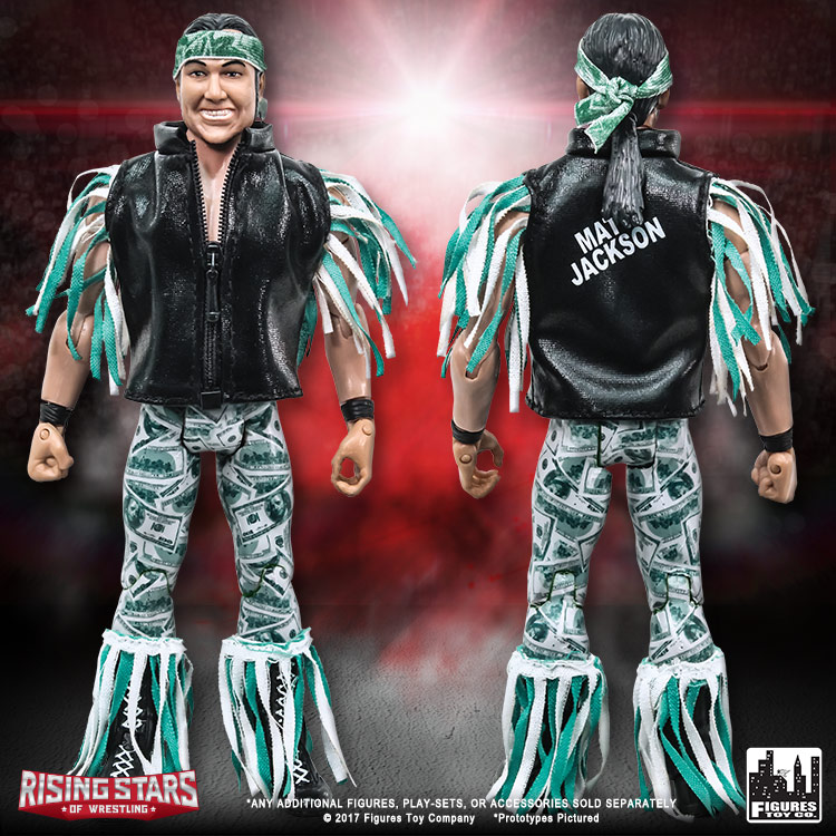 Set di 4 LOOSE FIGURE E Anello Rising Stars of Wrestling Serie Action Figure