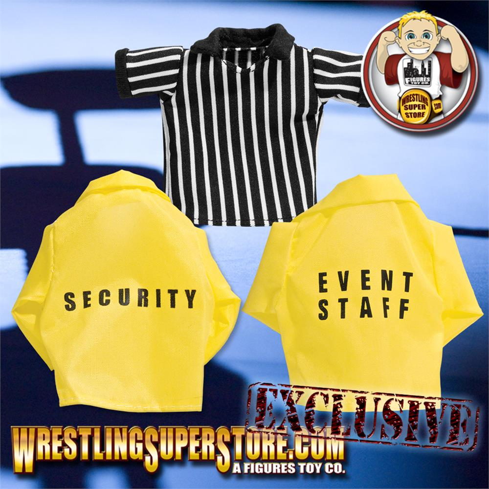 Referee Event Staff Security Set of 3 Loose Wrestling Action Figure Shirts