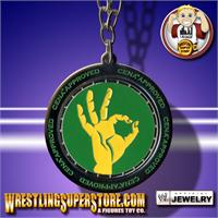 Wwe john cena approved green yellow spinning pendant mozeypictures Gallery